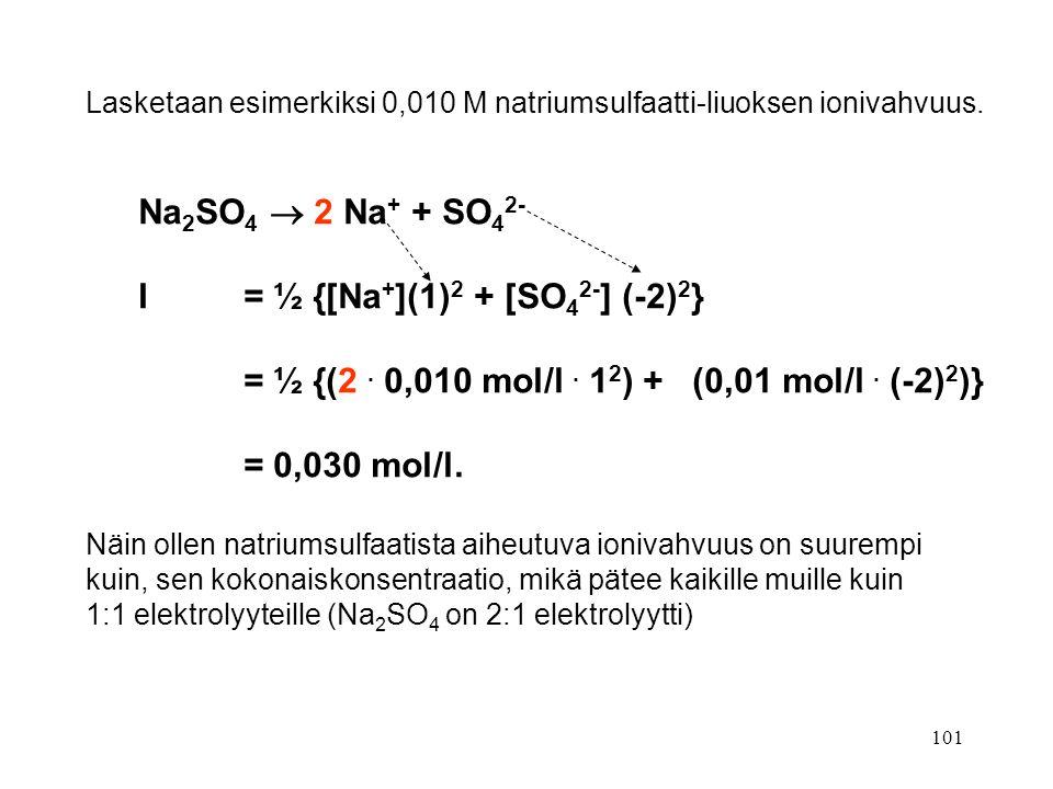I = ½ {[Na+](1)2 + [SO42-] (-2)2}
